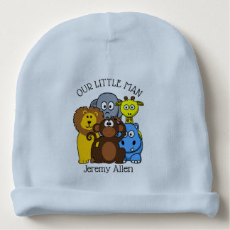 Personalized Zoo or Jungle Animals Baby Newborn Ca Baby Beanie