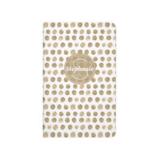 Personalzied Gold Painted Polka Dot Pattern Journal