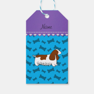 Personalzied name cocker spaniel blue bones pack of gift tags