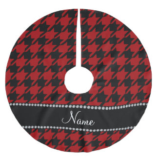 Personalzied name red black houndstooth brushed polyester tree skirt