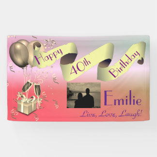 Personalzsed Happy 40th Birthday Banner
