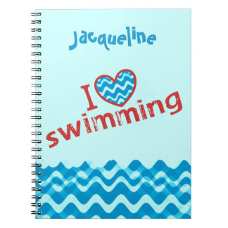 Personazlied I love (heart) Swimming Typography Notebook