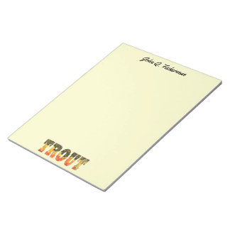 Personlized Brook Trout Fly Fisherman's Angler's Notepad