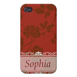 Personnalisable floral rouge étui iPhone 4
