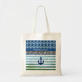 personnalisé/nom/ancre/bleu sac en toile budget