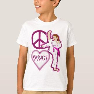 Personnaliser de fille de karaté d'amour de paix t-shirt