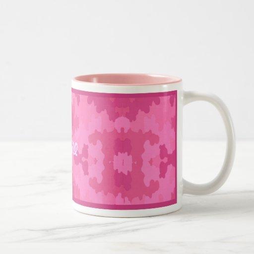 Personnalisez la tasse rose lumineuse de camouflag