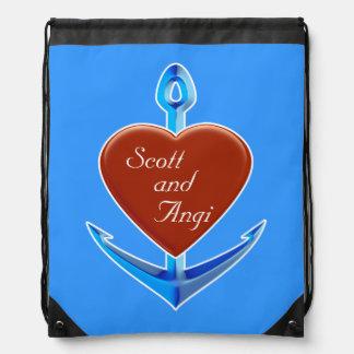 Personnalisez - l'ancre bleue avec la forme rouge  sacs avec cordons