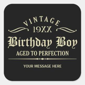 Personnalisez l'anniversaire drôle autocollant carré