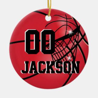 Personnalisez le basket-ball superbe de rouge de décorations pour sapins de noël