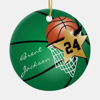 Personnalisez le basket-ball vert-foncé de joueur ornement rond en céramique
