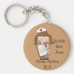 Personnalisez les cadeaux d'infirmière de brune ! porte-clef