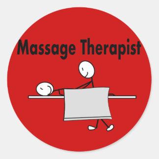 Personne de bâton de thérapeute de massage autocollants ronds