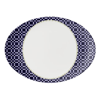 Perspective-Art-Navy-White-Accents Porcelain Serving Platter