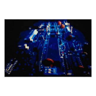 Perspective blue circuit board poster