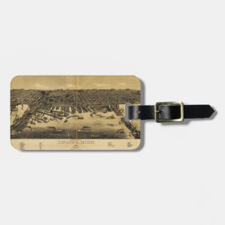 Perspective Map of Duluth Minnesota (1887) Luggage Tag