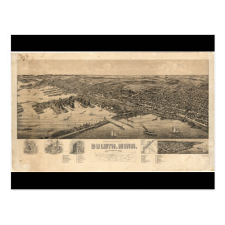 Perspective Map of Duluth Minnesota (1893) Postcard