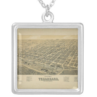 Perspective map of Texarkana Texas and Arkansas Silver Plated Necklace