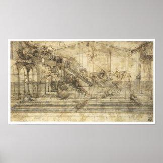 "Perspective Study ""Adoration of  Magi"", Da Vinci Poster"