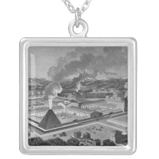 Perspective view of a canon forge silver plated necklace