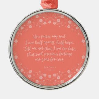 Persuasion Jane Austen Floral Love Letter Quote Metal Ornament