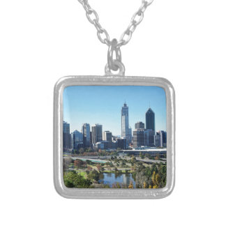 Perth Australia Skyline Silver Plated Necklace
