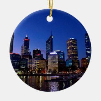 Perth Night Skyline Ceramic Ornament