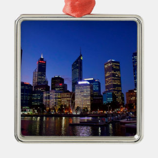 Perth Night Skyline Metal Ornament