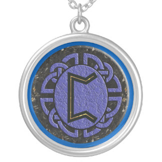"""perthro"" elder futhark silver plated necklace"
