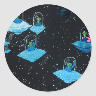 Perturbed Martians and some Cows Classic Round Sticker