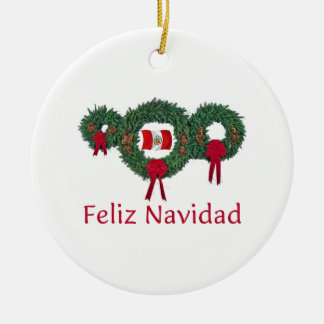 Peru Christmas 2 Round Ceramic Ornament