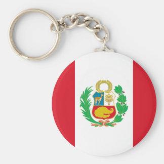 Peru Flag Button Keychain
