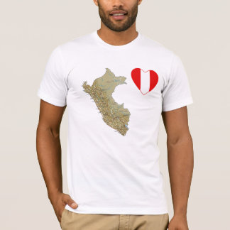 Peru Flag Heart and Map T-Shirt
