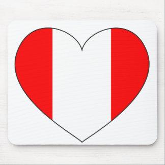 Peru Flag Heart Mouse Pad