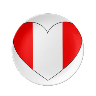 Peru Flag Heart Plate