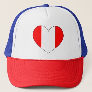 Peru Flag Heart Trucker Hat