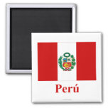Peru Flag with Name in Spanish Refrigerator Magnet