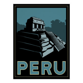 peru inca south america art deco retro poster