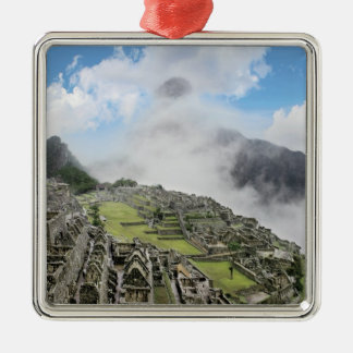 Peru, Machu Picchu, the ancient lost city of 4 Silver-Colored Square Ornament