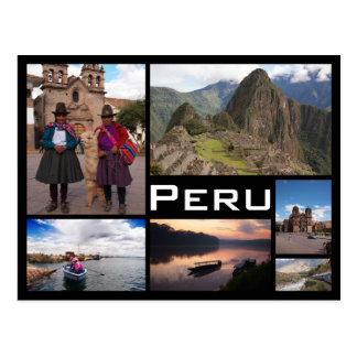 Peru multiple image collage black text postcard