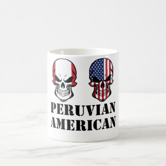 Peruvian American Flag Skulls Coffee Mug