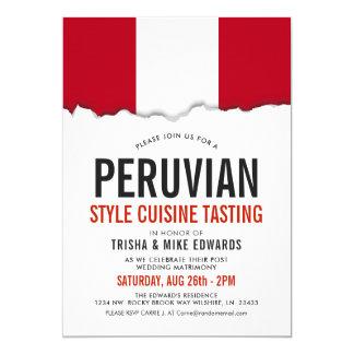 Peruvian Cuisine | Party Flag White Invite
