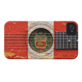 Peruvian Flag on Old Acoustic Guitar iPhone 4 Cases