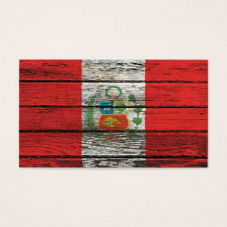 Peruvian Flag with Rough Wood Grain Effect Business Card
