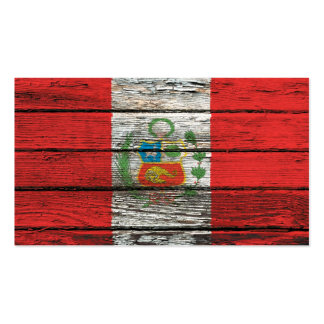 Peruvian Flag with Rough Wood Grain Effect Business Card Templates