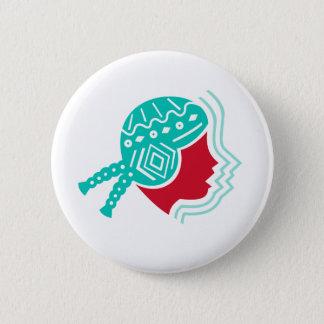 Peruvian Girl Hat Side Icon 2 Inch Round Button