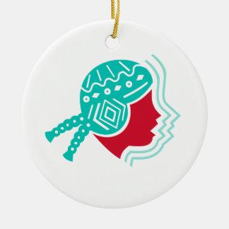 Peruvian Girl Hat Side Icon Ceramic Ornament