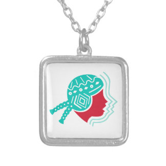 Peruvian Girl Hat Side Icon Silver Plated Necklace