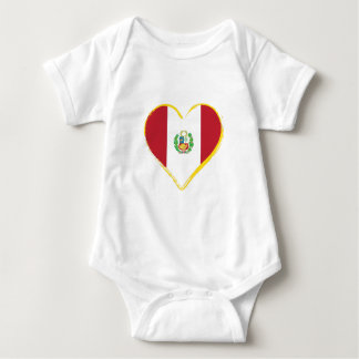Peruvian Heart Shape Flag with Shield Baby Bodysuit