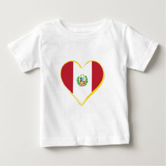 Peruvian Heart Shape Flag with Shield Baby T-Shirt